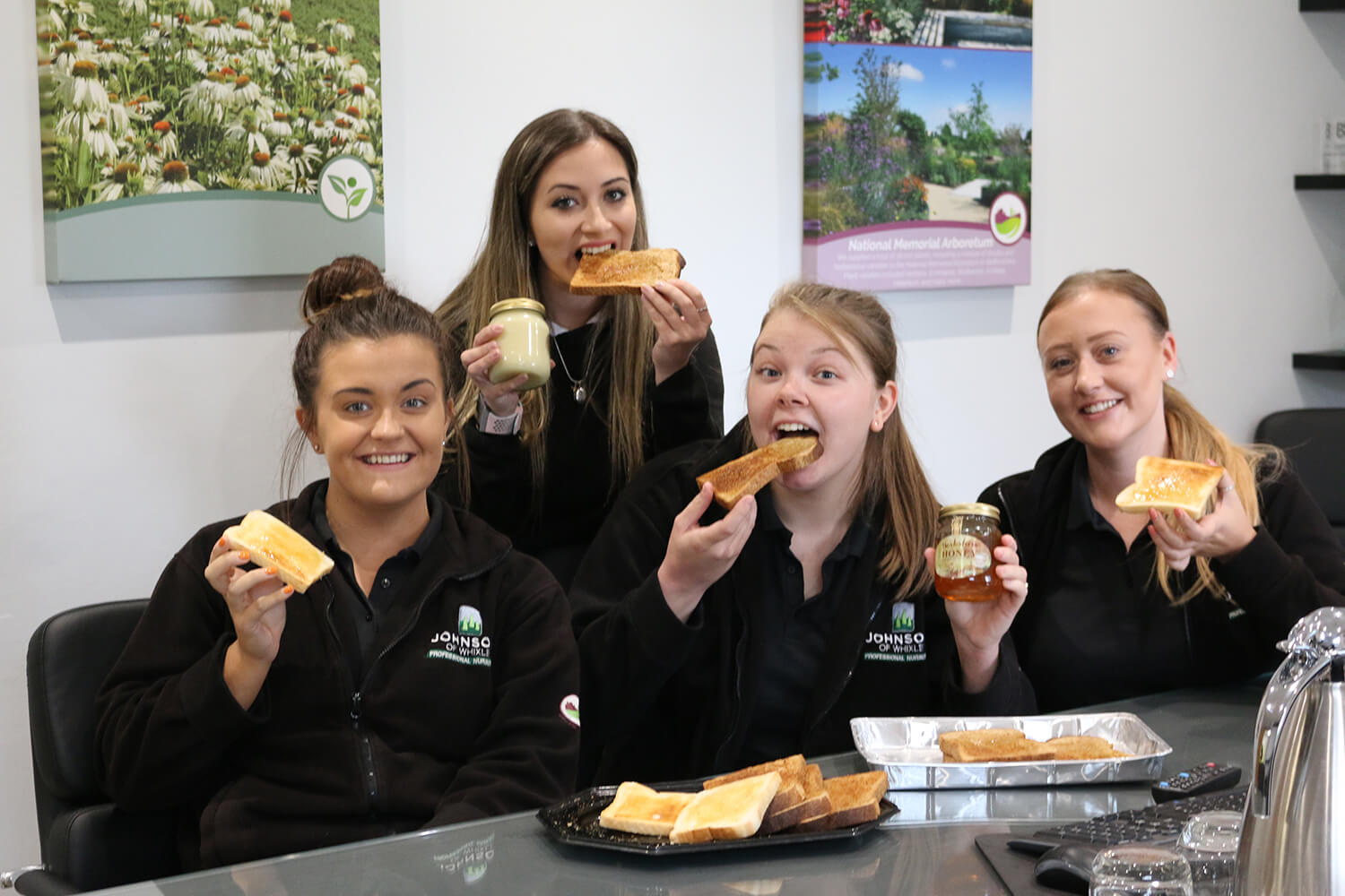 Office staff tuck into honey from onsite apiary